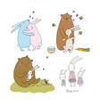 cute cartoon hares and a bear easter bunnies vector image vector image