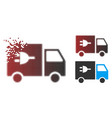 decomposed pixel halftone electric truck icon vector image vector image