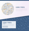 elderly people concept in circle vector image vector image