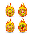 extremely spicy product fire shaped badges with vector image