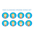 Face Cleaning And Care Actions Set vector image vector image