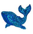 fantasy ornament whale blue colo vector image vector image