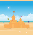 fantasy sandcastle with flag vector image