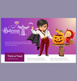 father and daughter carving hallows pumpkin poster vector image vector image