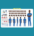 front side back view animated black american vector image vector image