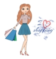 Girl with shopping bags on the street vector image vector image