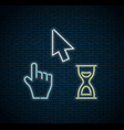 glowing neon cursors icons - arrow hourglass hand vector image