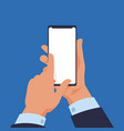 hand holding smartphone cartoon modern mobile vector image