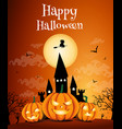 happy halloween night background with dark castle vector image