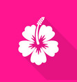 hibiscus flower flat icon long shadow vector image vector image
