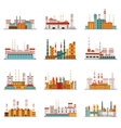 Industrial plant and factory set of icons vector image