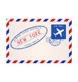 international air mail envelope from new york vector image vector image