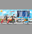 man woman with travel bag tourist with suitcase vector image vector image
