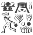 monochrome vintage bowling elements collection vector image vector image