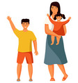 mother stands with her children a small child vector image