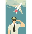 pilot of the plane on sky background vector image
