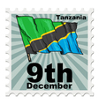 post stamp of national day of Tanzania vector image vector image