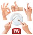 realistic hands set vector image vector image