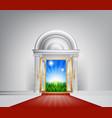 red carpet nature door vector image vector image