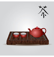 red china teapot and tea cups eps10 vector image vector image