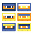 retro cassettes simple design set vector image vector image