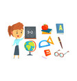 school supplies set and math teacher vector image