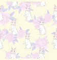 seamless pattern with cute rabbit baby girl vector image vector image