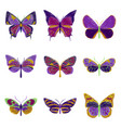 set of flat shading style icon butterfly vector image