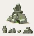 set rocks rock stone with grass cartoon vector image