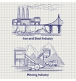 Sketched factory industrial landscape vector image vector image