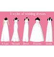 wedding dresses of different styles on mannequins vector image vector image