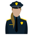 woman police officer portrait isolated on white vector image vector image