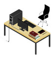 working place desk and office chair personal vector image vector image