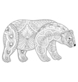 zentangle polar bear head for adult anti stress vector image