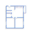 apartment house floor plans neon blue vector image vector image
