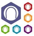 black and white tennis ball icons set hexagon vector image vector image