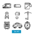 Black icons for rock climbing equipment vector image