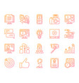 blogging online simple color line icons set vector image