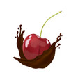cherry in hot chocolate on white background vector image vector image