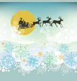 christmas eve scene santa claus sleigh silhouette vector image vector image