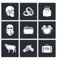 Custom wedding - bride price icons vector image vector image