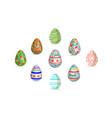 easter egg set pattern paint color vector image