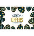 easter offer and sale banner with golden eggs vector image
