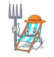 farmer beach chair character cartoon vector image