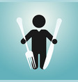 figure man holds knife and fork vector image