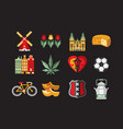 flat set of traditional objects of vector image