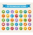 Flat Technology Icons with long shadowBig set vector image vector image
