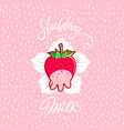 funny strawberry milk vector image