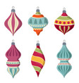 hand drawn flat christmas balls collection vector image vector image