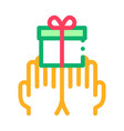 hands giving gift icon outline vector image vector image